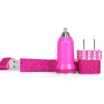 Hot Pink Posh iPhone Charger - compatible with ipod and ipad